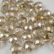 DIY Jewelry Faceted 30pcs Champagne AB #5040 6x8mm Roundelle Crystal Beads  C23