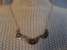 """A Silver-tone Necklace w/Ornate Tri-Half Moon Beads w/Blue & Brown Stones 21""""."""