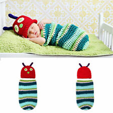 Hot Baby Cocoon Hat Swaddle Sleeping Bag Handmade Cute Crochet Hungry Caterpill