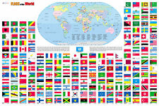 "Flags of the World Wall Map Poster 36""x24"" Multi-Color Rolled Paper 2017"