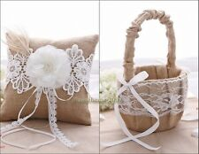 Burlap Hessian Lace Diamante Flower Girl Basket Pillow Ring Wedding Decor