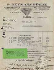 MAINZ, Rechnung 1928, Weingutsbesitzer u. Wein-Grosshandlung S. Heymann Söhne
