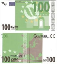 Europe 100 euro polymère wesco type 1 neuf unc educational test note billet
