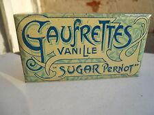 "Ancienne boite tole lithographiée 1900 biscuits Pernot Dijon "" Gaufrettes Sugar"""