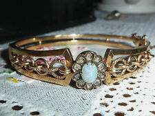 Antique Victorian 14ct Rose Gold Opal & 0.33ct Diamond Bangle Bracelet, 13.6g