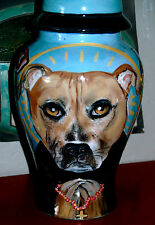 Custom Portrait MEMORIAL Pet URN DOG cremation Hand Painted bull terrier pit