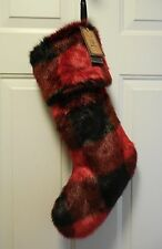 "Red & Black Buffalo Check Faux Fur Christmas Stocking 22""~Well Dressed Home New"