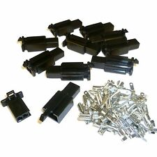 PACK of 10 Motorcycle Mini-Latch - Wiring Connector Sets ( (2.8mm) - 2 way BLACK