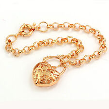 Arab Style Real Yellow Gold Filled Openwork Heart  Flowers Womens Charm Bracelet