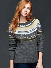 NEW GAP CHARCOAL HEATHER CIRCULAR FAIR ISLE SWEATER XS