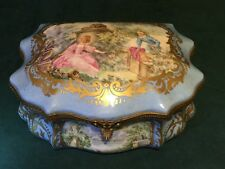 Beautiful Vintage Hand Painted Romantic Scene Large Trinket Box