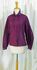 ETRO ITALY SPARKLING AUBERGINE SILK SEWN PLEAT FITTED SHIRT BLOUSE 42 LN FALL