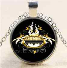Batman Logo with Cars Cabochon Glass Tibet Silver Chain Pendant Necklace