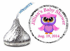 216 PINK PURPLE OWL BABY SHOWER FAVORS HERSHEY KISS LABELS