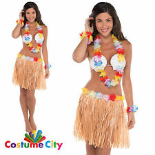 Adults Womens Teens Tropical Hawaiian Hula Luau Fancy Dress Party Costume