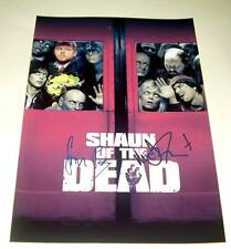 "SHAUN OF THE DEAD CAST X2 PP SIGNED POSTER 12""X8"" PEGG"