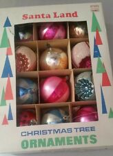 12 vintage  Santa Land Christmas tree ornament balls indent glass