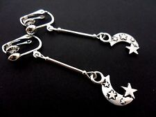 A PAIR OF  TIBETAN SILVER MOON STARS  CLIP ON EARRINGS. NEW.