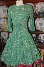 Vintage 1950's Green White Dress Bow Blanes