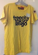 FREE CITY Lets Go Tokyo L Short Sleeve S/S Tee T-Shirt Mustard Yellow New NWT