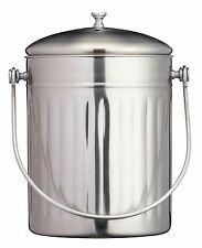 Kitchen Craft 5 Litre Stainless Steel Compost Bin, Food Waste Caddy With Filter