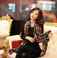 Frauen-Leopard-stilvolles langes weiches Seidenchiffon-Schal-Verpackungs-Schal