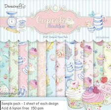 Dovecraft Cupcake Boutique di carta 8 x 8 Sample Pack 1 per ogni design - 12 FOGLI