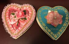 2 Vtg Valentine Heart Chocolate Box Aqua Blue Pangburns Velvet Plastic Pink Rose