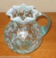 "Fenton Light Blue Opalescent Daisy & Fern Pitcher 6 1/2"" Tall - MINT"