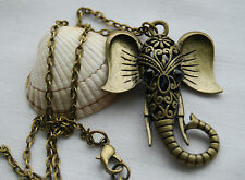Retro vintage style antique bronze look necklace lucky elephant pendant