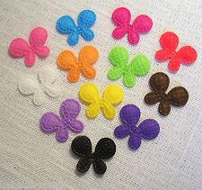 LOT de 12 appliques PETITS PAPILLONS Multicolores **15 x 20 mm** Tissu Gaufré