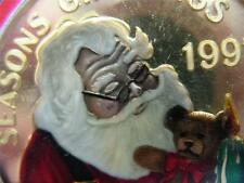 1-OZ.999 SILVER CHRISTMAS SANTA & TEDDY BEAR ORNAMENT BOX ENGRAVABLE COIN + GOLD