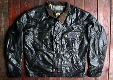 BELSTAFF COUGAR BLACK LEATHER MOTORCYCLE JACKET PANTHER BLOUSON ITALY MEDIUM