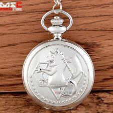 Vintage Fullmetal Alchemist Silver Pocket Watch Necklace Pendant Chain Quartz UK