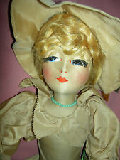 """RARE antique cloth """"Blossom"""" boudoir bed doll ~all orig., real eyelashes, xlnt."""