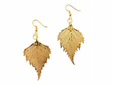 Birch Real Leaf 24k Gold Dipped / Plated Earrings French Wire Dangle, Hook USA