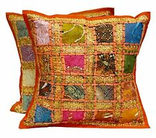 2 Orange Embroidery Sequin Patchwork Indian Sari Throw Pillow Cushion Covers New