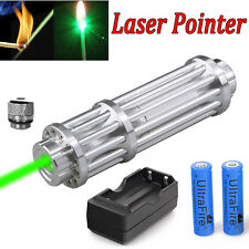 Military 1W Powerful 532nm Green Laser Pointer Pen Beam Light+18650+Dual Charger