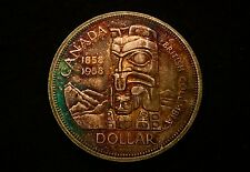1958 Canada Silver Dollar Great Eye Appeal Toned Coin Beautiful Totem Pole Coin