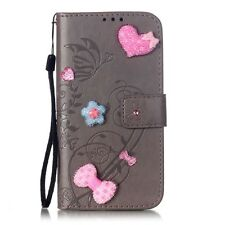 Bling Crystal Butterfly Wallet TPU Leather Flip Case Cover For Samsung Galaxy