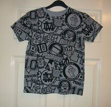 BOYS LOVELY GREY AND BLACK DESPICABLE ME MOTIF T- SHIRT / TOP AGE 8-9 YEARS BNWT