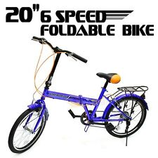 "20"" Folding Bicycle 6 Speed Sport Shimano Fold Frame Blue Cycling Foldable"