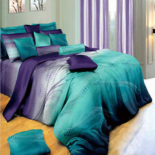 New 600TC Cotton Queen Size Bed Quilt/Doona Cover 5PC Set. Purple&Blue