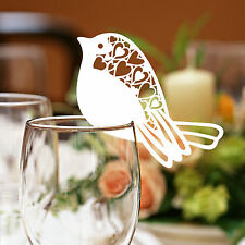 Robin Wedding Name Place Cards For Wine Glass Laser Cut  Pearlescent Card