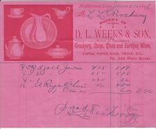 Red Ink on Pink Paper Billhead from 1896, Crockery, China, etc. (Middletown CT)