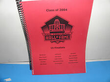 NFL Pro Football Hall Of Fame Canton Class of 2004 15 Finalists Selection Book
