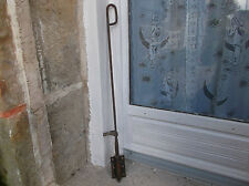 French 19th century solid iron door lock slide bolt country rustic classic
