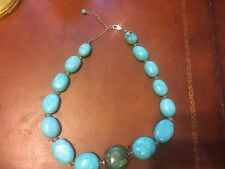Turquoise Neclace Chunky oval stones 18 inch