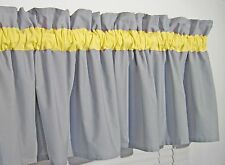 Yellow and Solid Gray Window Curtain Valance Bath Bedroom Nursery Kids FREE SHIP
