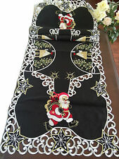 "Embroidered Christmas Santa Tablecloth 15x52"" Black Table Runner Home Decor"